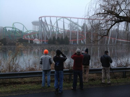 Birders watching the geese with Dorney Park in the background. (Photo by Alex Lamoreaux)