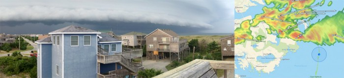 Wall Cloud approaching one of the houses  we were staying at in Salvo. The roof deck was a great vantage! Photo by Andy McGann