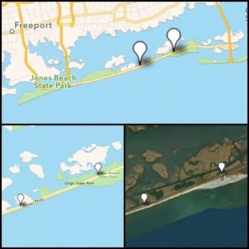 The Gyrfalcons hangouts: Cedar Beach Marina (right marker), Gilgo Beach Marina (left marker)