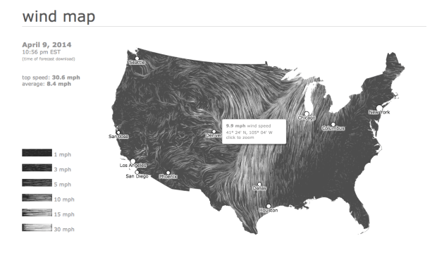 "Screenshot of ""wind map"". Click to follow through to the site."