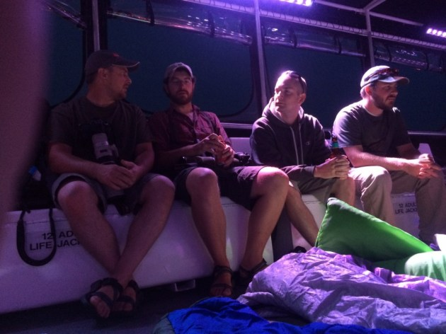 Mike, Alex, and Matt discus tactics and strategy for victory at sea while Drew thinks about where to sleep.