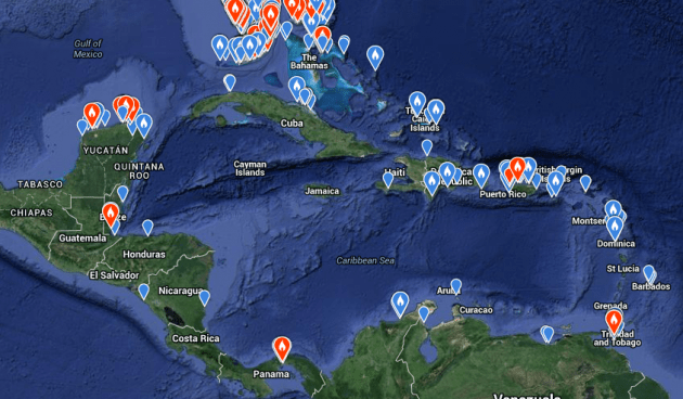eBird sightings of Lesser Black-backed Gulls in the Caribbean