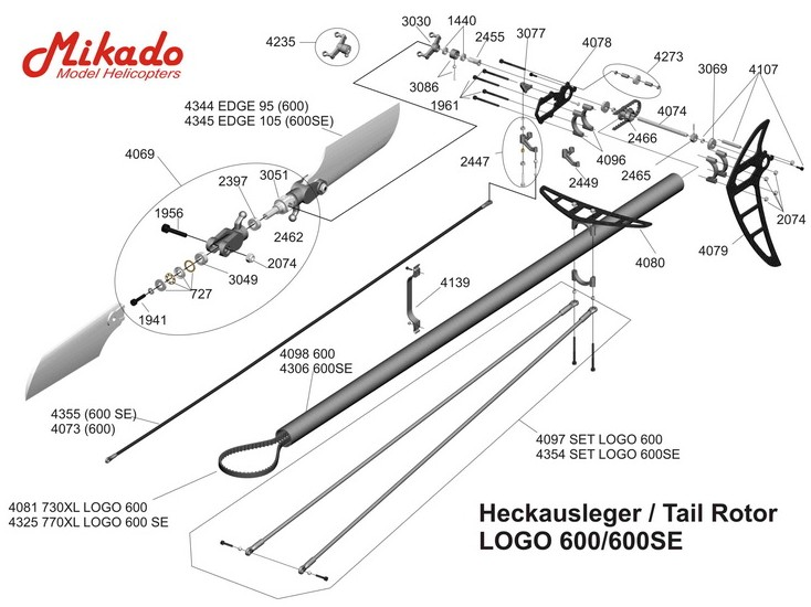 MIKADO SPAREPARTS TAIL ROTOR LOGO 600/600SE HELICOPTERS