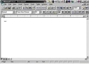 A snapshot of Microsoft Office 95: Word, it appeared upon startup of the program