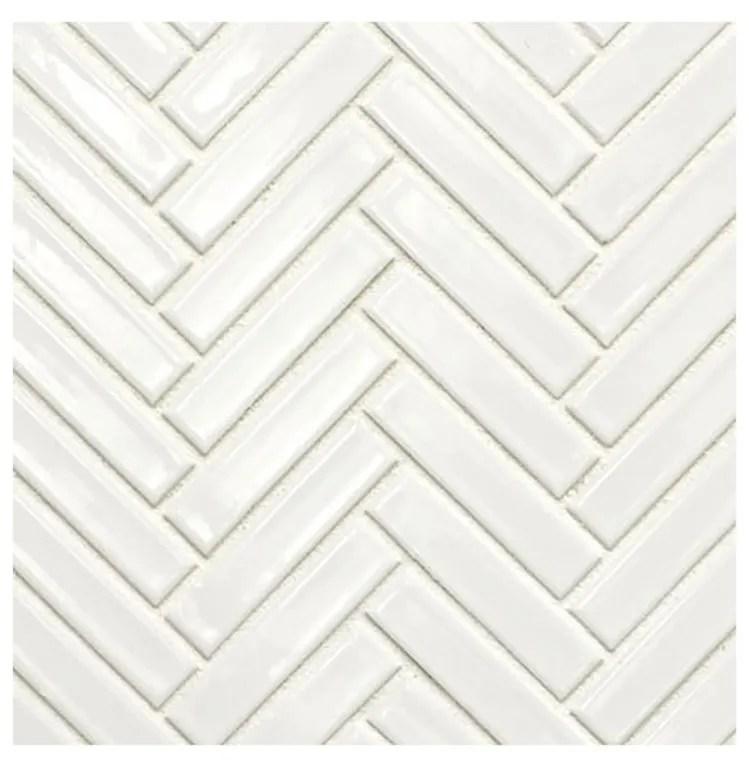 glazed herringbone white mosaic sheet