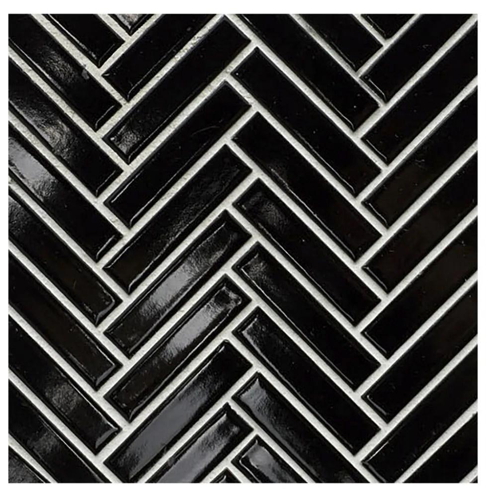 glazed herringbone black mosaic sheet