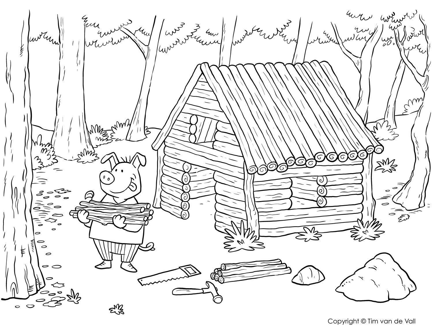 Three Little Pigs Coloring Pages â The Three Little Pigs