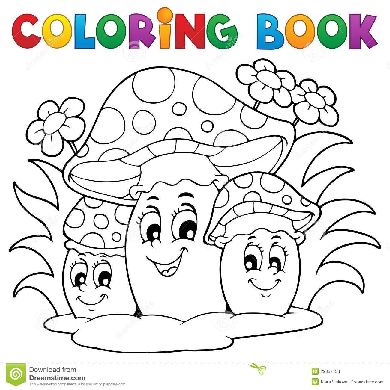 Coloring Book Mushroom Stock Vector Illustration Of