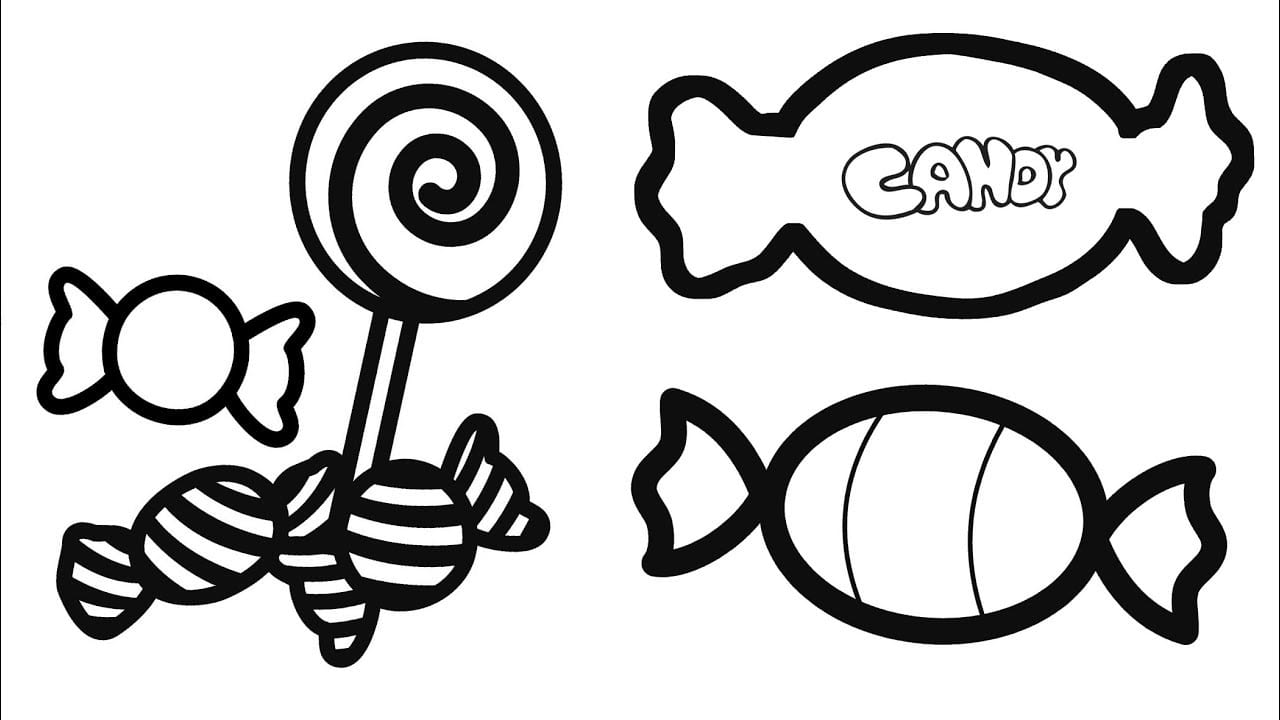 Sweet Candy Coloring Pages For Kids, How To Draw And Color