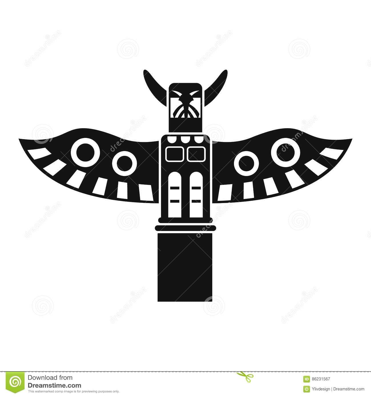 Traditional Religious Totem Pole Icon Simple Style Stock