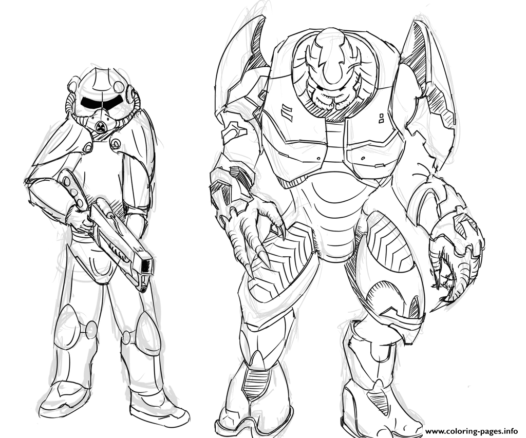 Brotherhood Of Steel And Elites From Halo By Zonalar Coloring Neo Coloring
