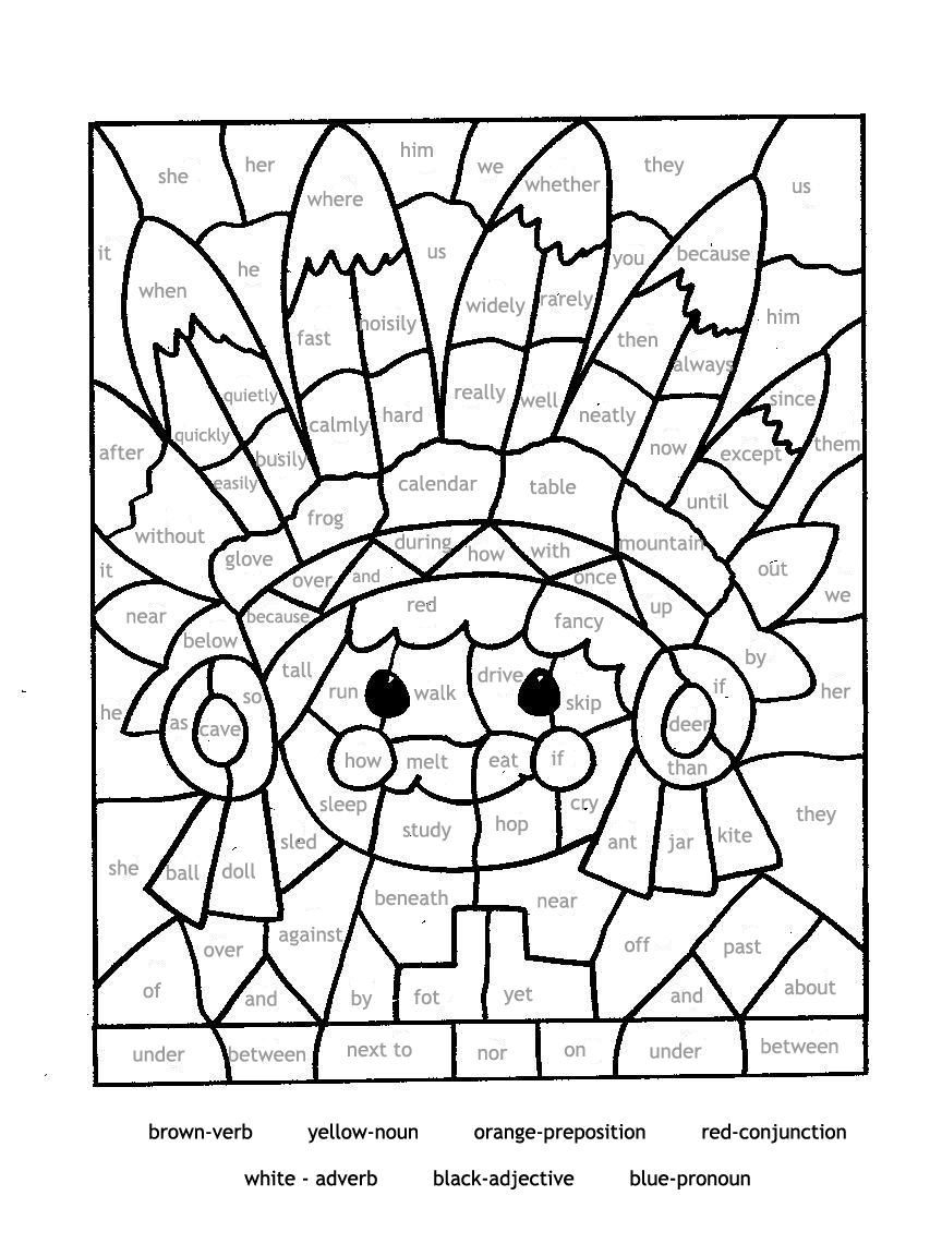 Mosaic Coloring Pages For Parts Of Speech