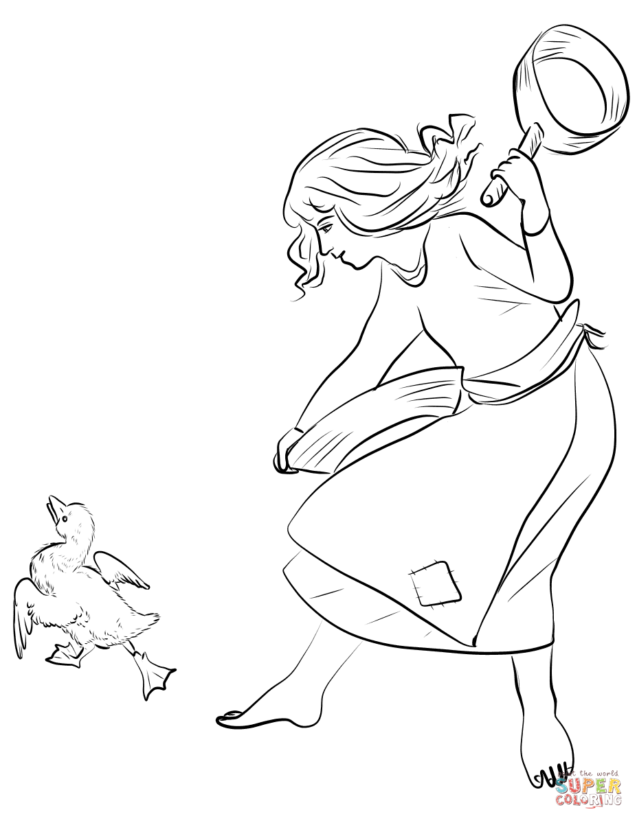 The Poultry Girl Kicks The Ugly Duckling Coloring Page