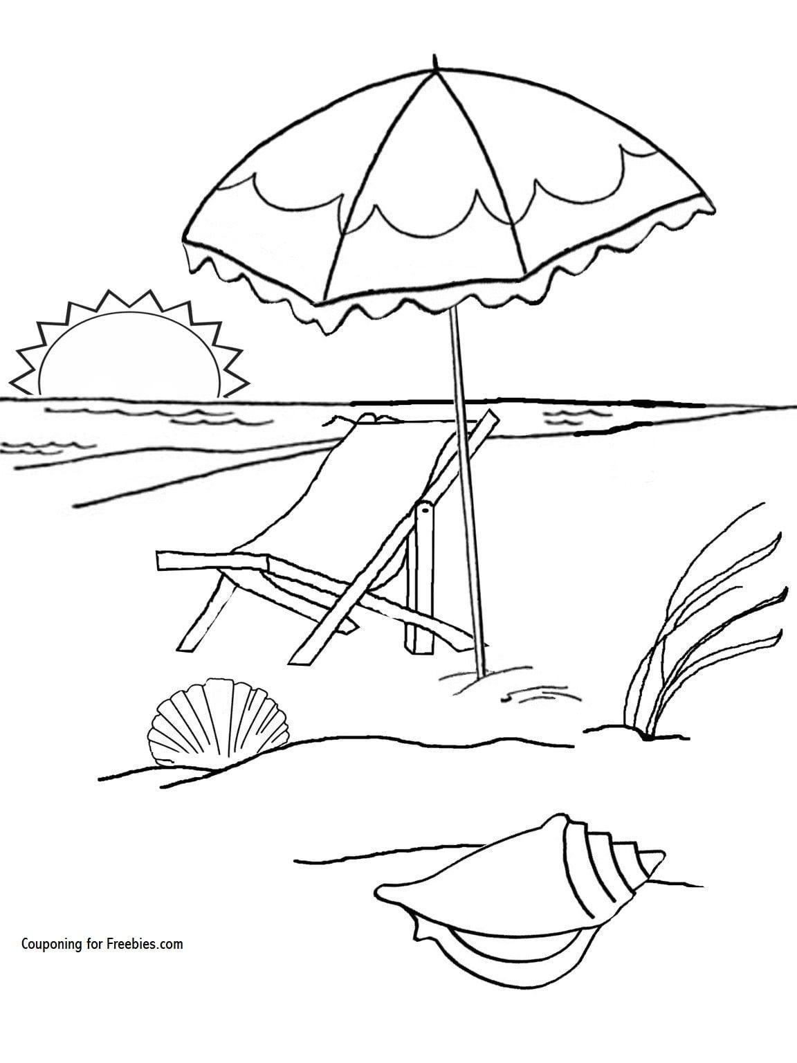 Beach Umbrella Coloring Sheet