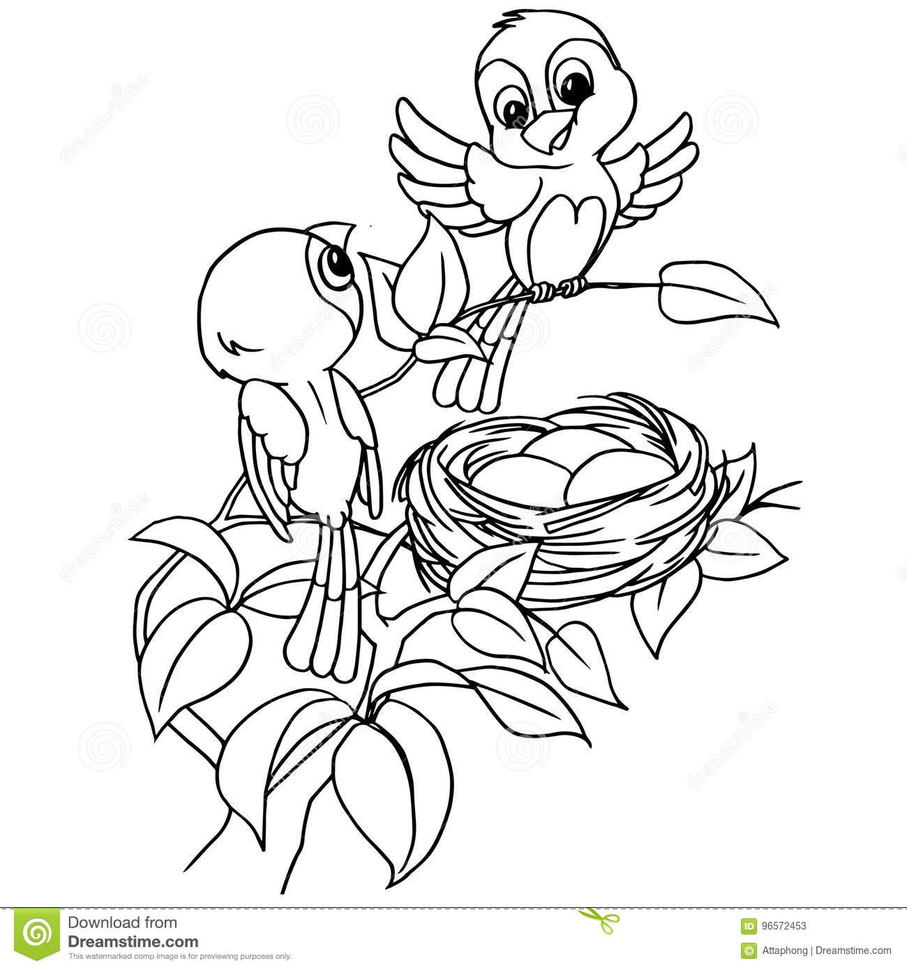 Cartoon Bird Egg In Nest Coloring Page Vector Stock Vector