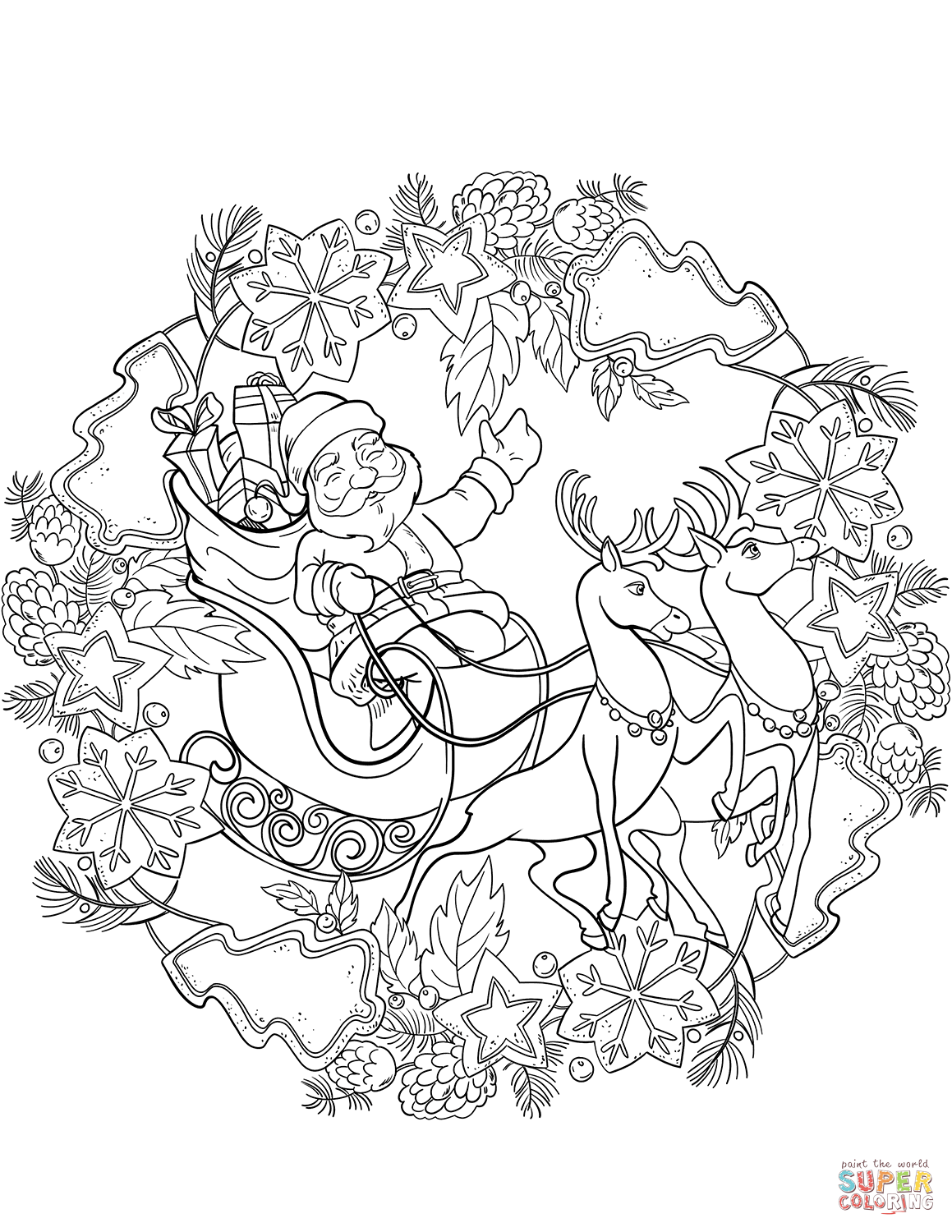 Santa Claus In Sleigh Coloring Pages