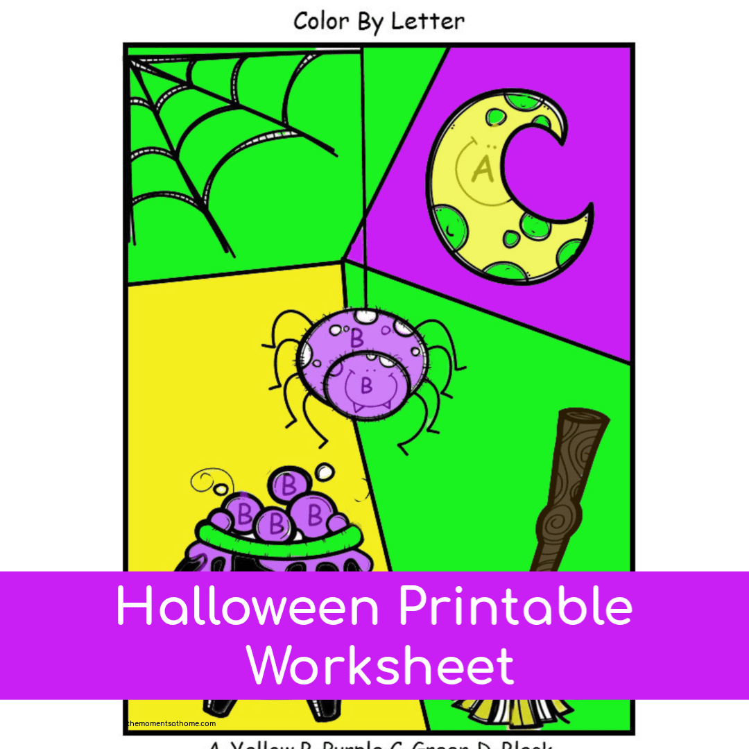 Halloween Color By Letter Printable Worksheet Neo Coloring