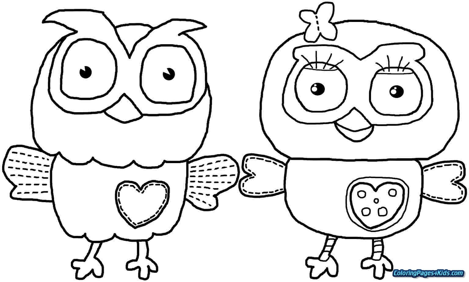 Cute Owl Coloring Sheets