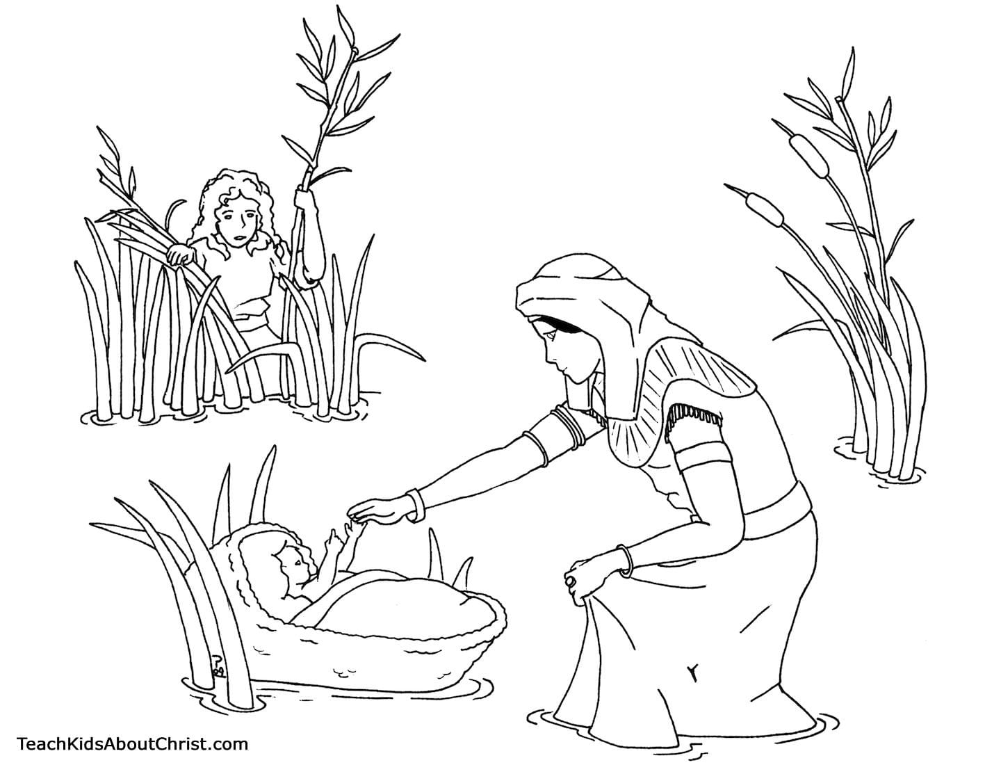 Coloring Page Of Baby Moses Basket Neo Coloring