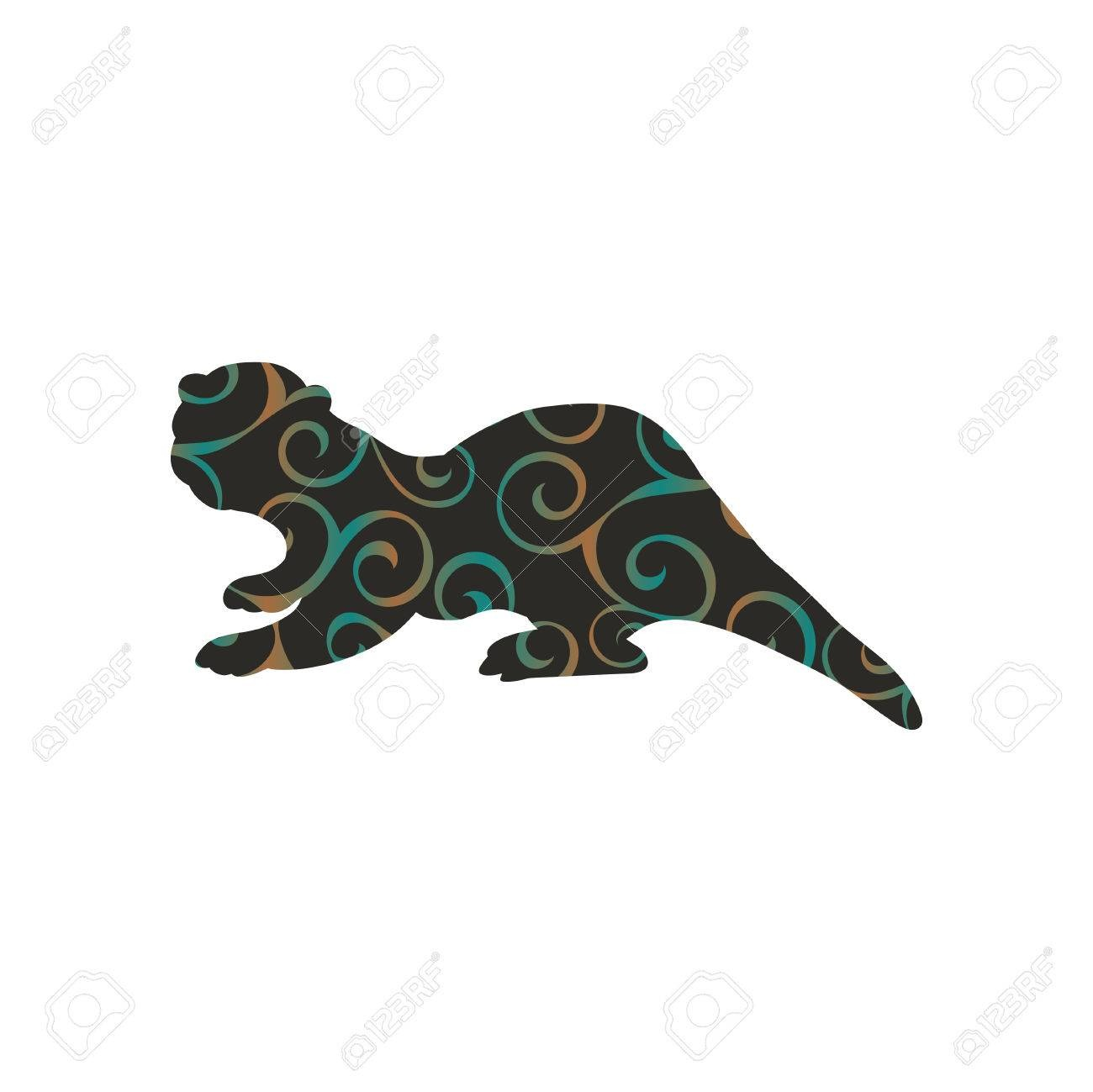 Otter Mammal Color Silhouette Animal Royalty Free Cliparts