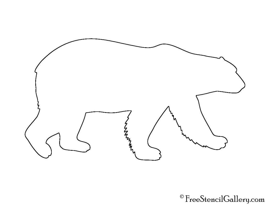 Polar Bear Silhouette Stencil Neo Coloring