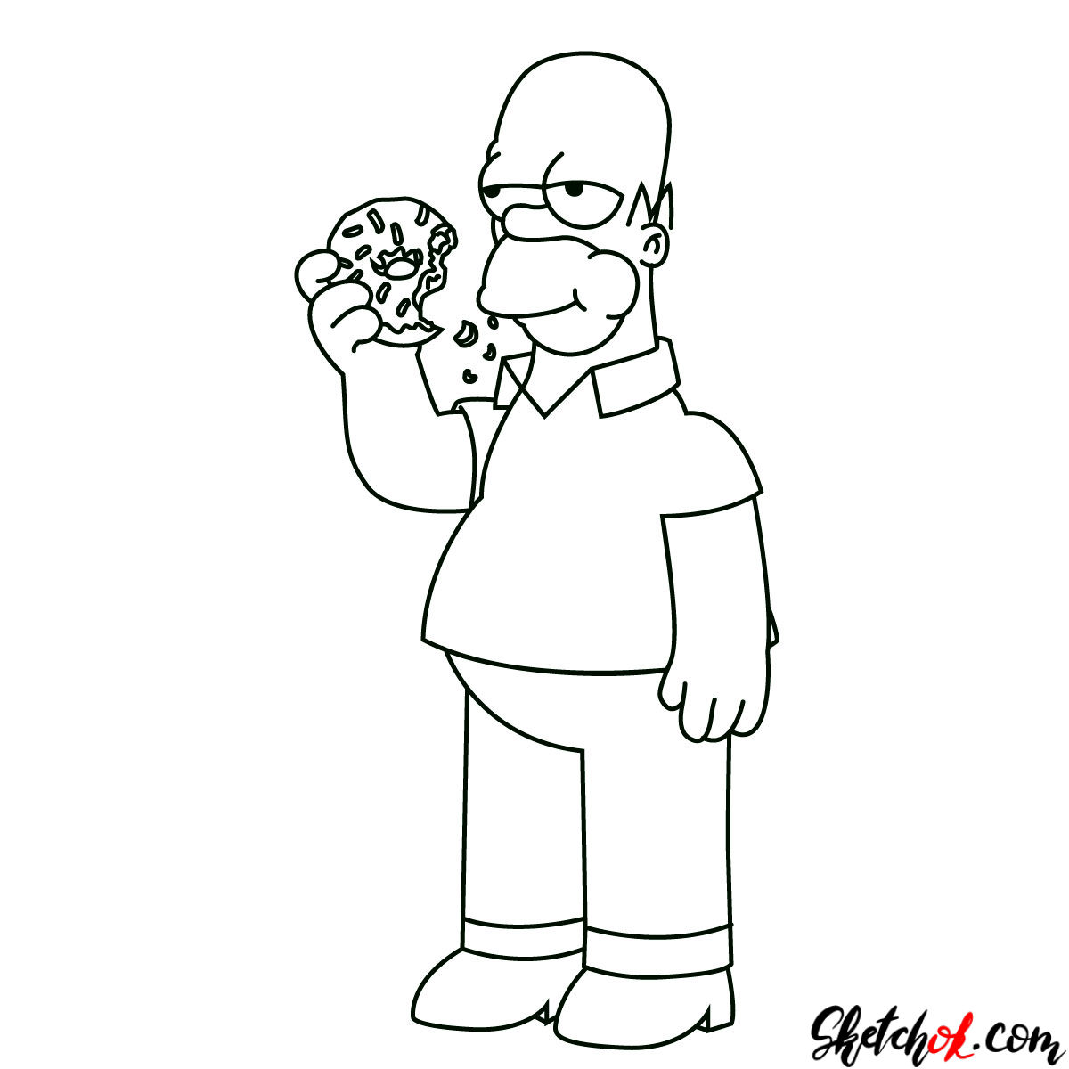 How To Draw Homer Simpson Eating A Donut Neo Coloring