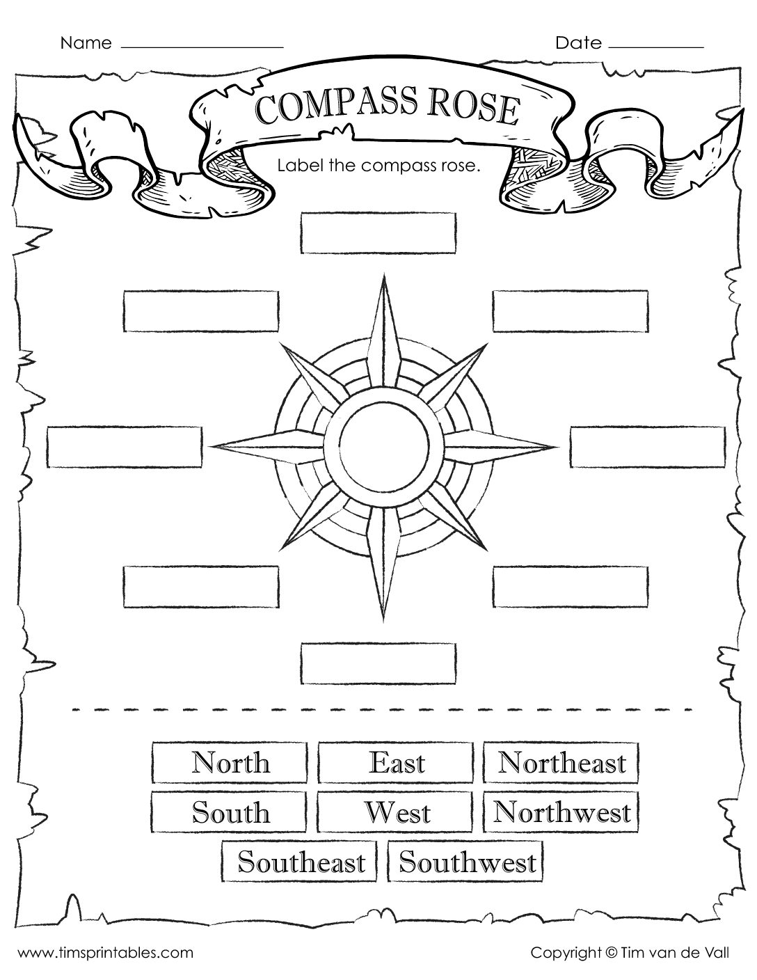 Compass Rose Worksheet Neo Coloring