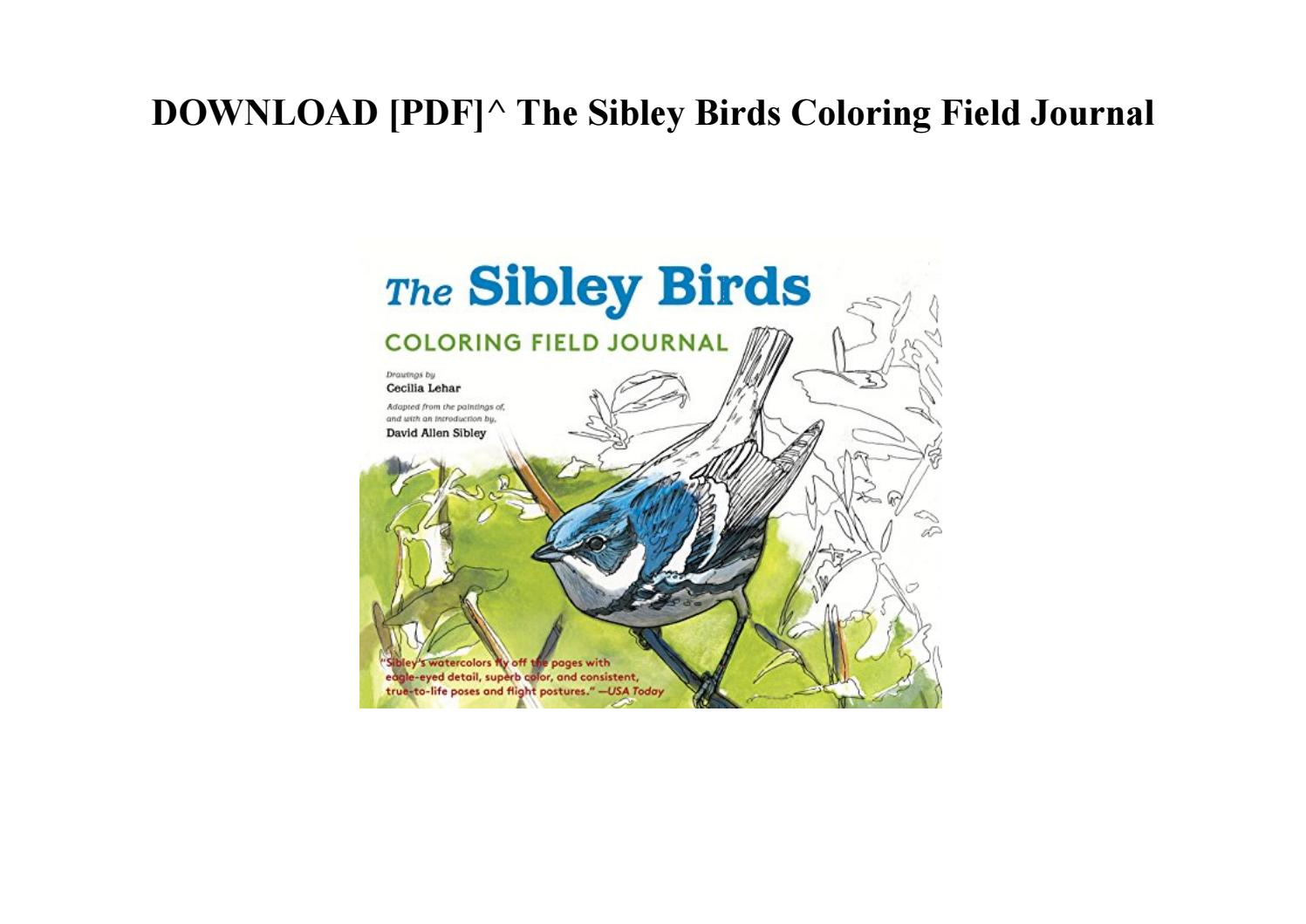 Download The Sibley Birds Coloring Field Journal By
