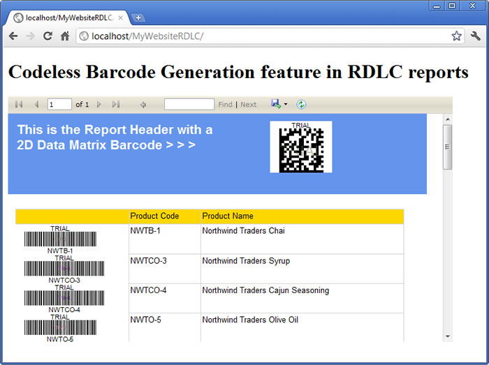 How to use Codeless Barcode Generation feature in ReportViewer RDLC local reports in ASP.NET