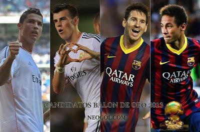 Candidatos Balón de Oro 2013: Ronaldo, Bale, Messi y Neymar