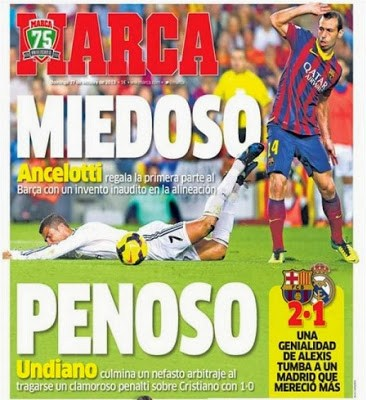 Barcelona vs. Real Madrid. Portada 27/10/13 diario MARCA