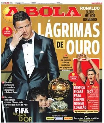 Portada A BOLA Cristiano Ronaldo Balón de Oro 2013