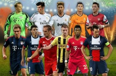 Neuer; Lahm, Ramos, Thiago Silva, Alaba; Reus, Özil, Bale, Ribéry; Ibrahimovic y Cristiano Ronaldo.