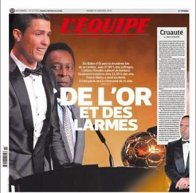Portada L´EQUIPE Cristiano Ronaldo Balón de Oro 2013