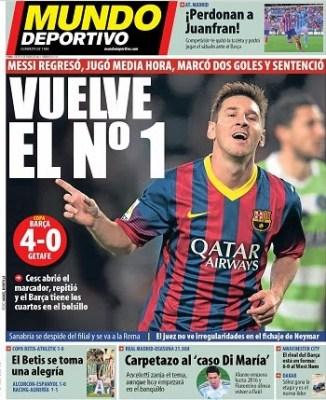 Portada Mundo Deportivo 9/01/2014