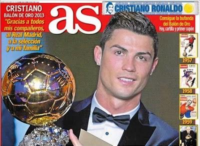 Portada As Cristiano Ronaldo Balón de Oro 2013