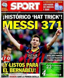 Leo Messi goleador histórico del Barça. Portada del diario SPORT