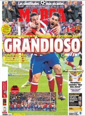 Portada Marca 10/4/2014 Atletico Madrid 1-Barcelona 0 Champions League