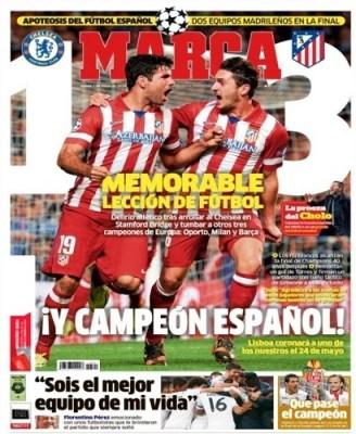 Portada Marca: Atlético Madrid finalista de la Champions League