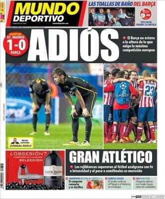 Portada Mundo Deportivo 10/4/2014 Atletico Madrid 1-Barcelona 0 Champions League