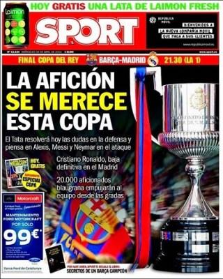 Portada Sport Final Copa del Rey 2014: Barcelona vs. Real Madrid