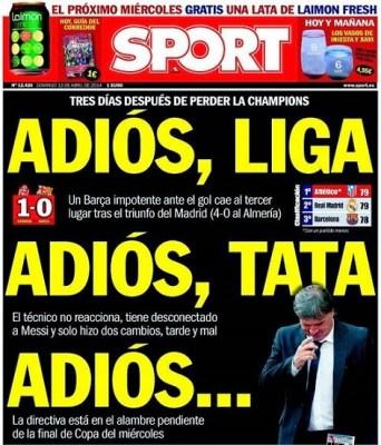 Portada diario Sport 13/04/2014