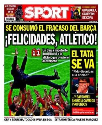 Portada Sport: Atlético Madrid Campeón Liga Española 2014