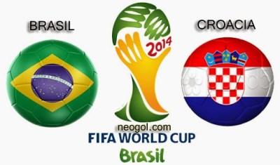 Alineación y la previa Brasil-Croacia. Partido inaugural