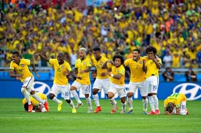 Brasil festeja el triunfo ante Chile luego de los penales brasil 2014