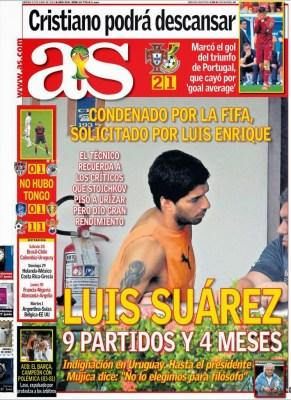 Portada as Suárez expulsado del Mundial de Brasil 2014