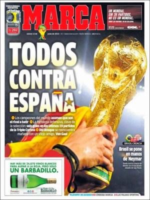 Portada diario Marca. Inicio Mundial Brasil 2014