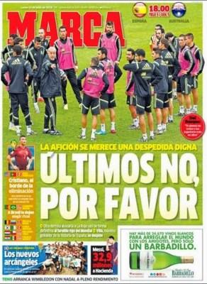 España se despide del Mundial hoy ante Australia: Portada MARCA MUNDIAL BRASIL 2014