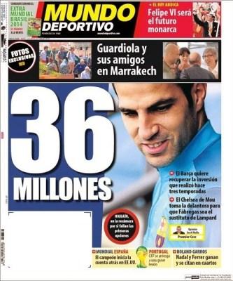 Portada Mundo Deportivo: El Rey Juan Carlos abdica al trono de España