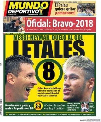 Portada Mundo Deportivo, Mundial Brasil 2014 messi y neymar